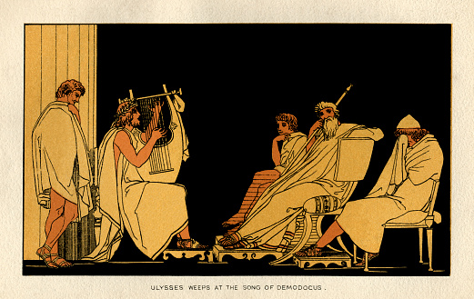 """Ulysses weeping as he listens to the songs of the blind musician, Demodocus. From """"Stories From Homer"""" by the Rev. Alfred J. Church, M.A.; illustrations from designs by John Flaxman. Published by Seeley, Jackson & Halliday, London, 1878."""