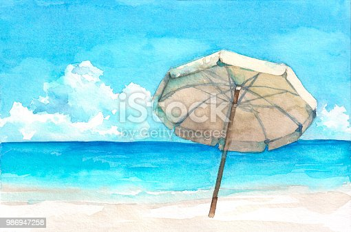 Umbrella on the wonderful tropical beach. Watercolor hand drawn illustration.