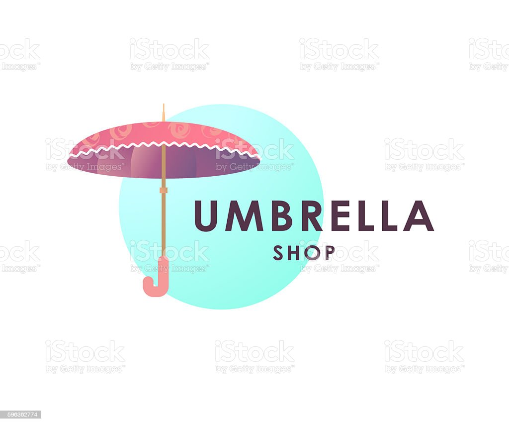 Umbrella store logo isolated on white background. royalty-free umbrella store logo isolated on white background stock vector art & more images of computer graphic