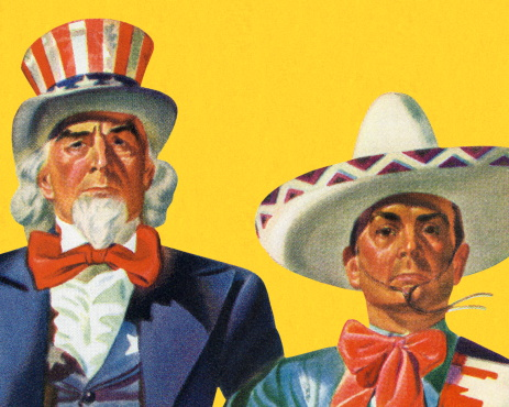 Uncle Sam and a Mexican Man