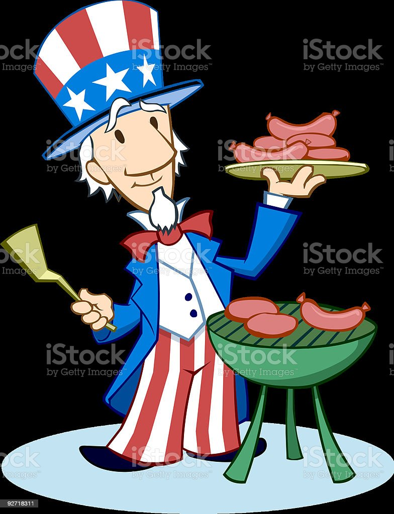 royalty free uncle sam cooking at bbq clip art vector images rh istockphoto com bbq pics clipart bbq clipart free download