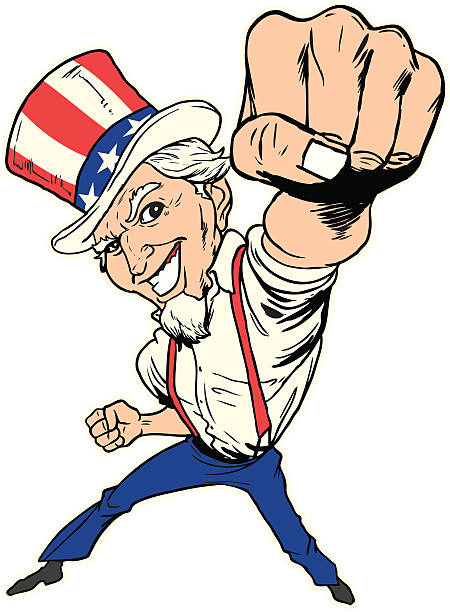 Uncle Sam Punch A cartoon drawing of Uncle Sam throwing a punch at the viewer. uncle sam stock illustrations