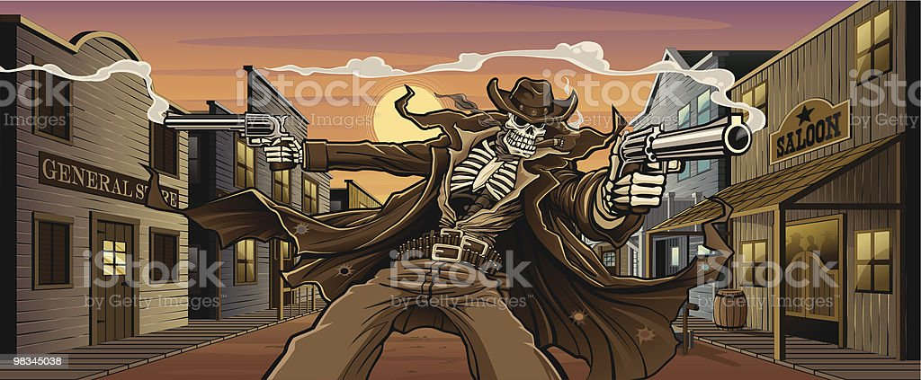 Undead Gunslinger: Old West Town Version royalty-free undead gunslinger old west town version stock vector art & more images of aiming