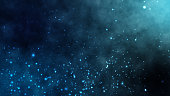 Under deep sea water moving particular cloud dust with fractal particle abstract background