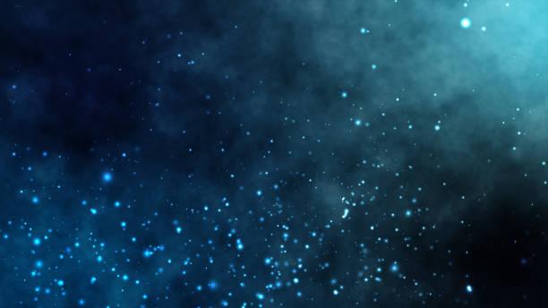 stockillustraties, clipart, cartoons en iconen met onder diepzee water bewegende bijzondere wolk stof met fractale deeltje abstracte achtergrond - ocean under water