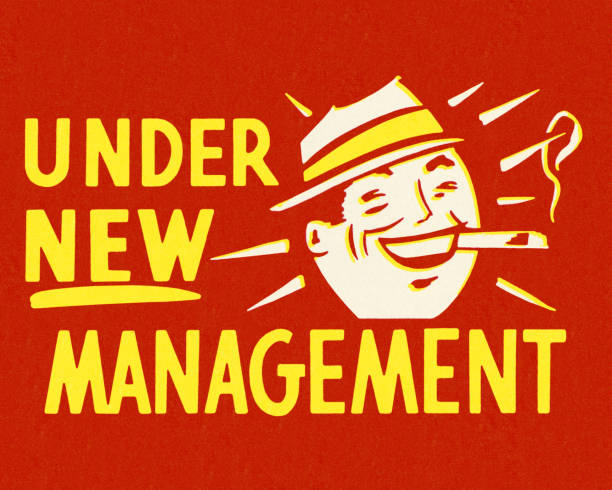 stockillustraties, clipart, cartoons en iconen met onder nieuw management - guy with cigar