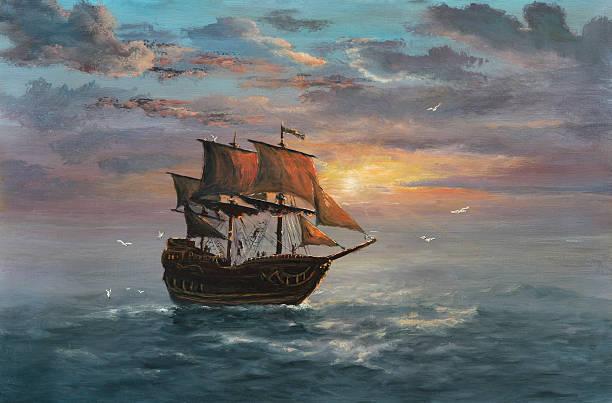 Under sail Painting. A canvas, oil. pirate ship stock illustrations
