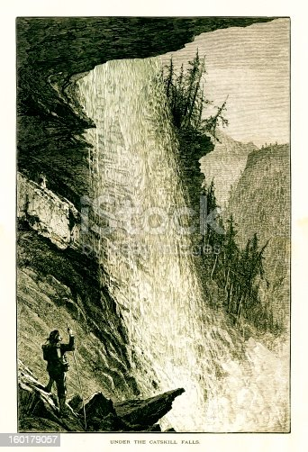 Under the Kaaterskill Falls located in Catskill Mountains, U.S. state of New York. Published in Picturesque America or the Land We Live In (D. Appleton & Co., New York, 1872).