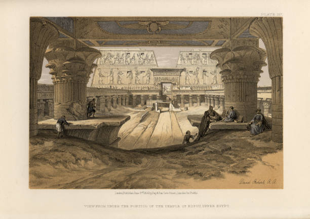 Under the Portico of the Temple of Edfu, Upper Egypt Vintage engraving of Under the Portico of the Temple of Edfou, Upper Egypt. 19th Century. David Roberts, The Holy Land, Syria, Idumea, Arabia, Egypt and Nubia. The Temple of Edfu is an Egyptian temple located on the west bank of the Nile in Edfu, Upper Egypt. ancient egyptian culture stock illustrations