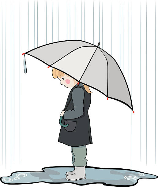 under the rain - kids playing in rain stock illustrations, clip art, cartoons, & icons