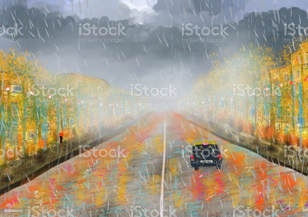 Under the rain An imaginary artistic creation that summarizes the image of an urban space in the winter, with its heavy rains, dense clouds, damp streets, fog that changes lights and colors, and life in the rain Art stock illustration