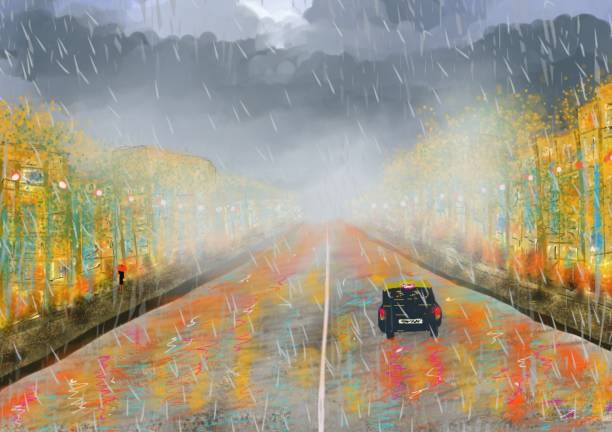 Under the rain An imaginary artistic creation that summarizes the image of an urban space in the winter, with its heavy rains, dense clouds, damp streets, fog that changes lights and colors, and life in the rain ALOZADE stock illustrations