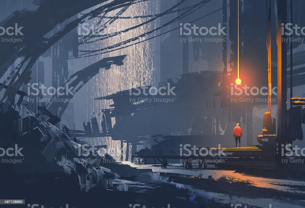 underground city,sci-fi llustration vector art illustration