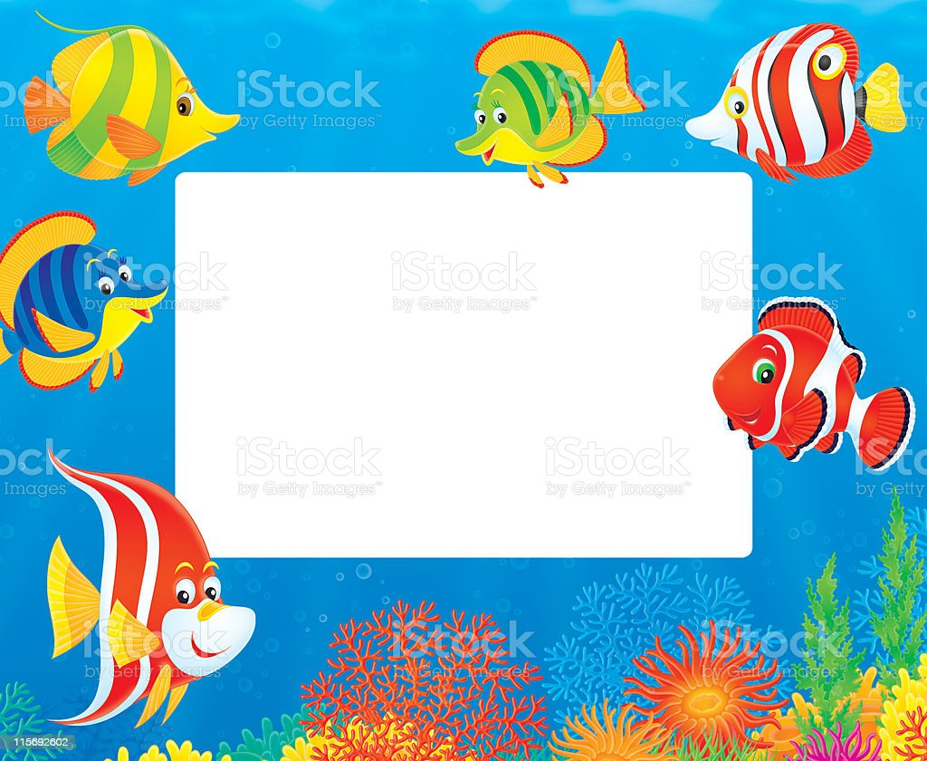 underwater border of colorful tropical fishes stock vector art