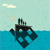"""""""A family floating on their house, which is partially underwater in the ocean, about to be saved by a life preserver."""""""