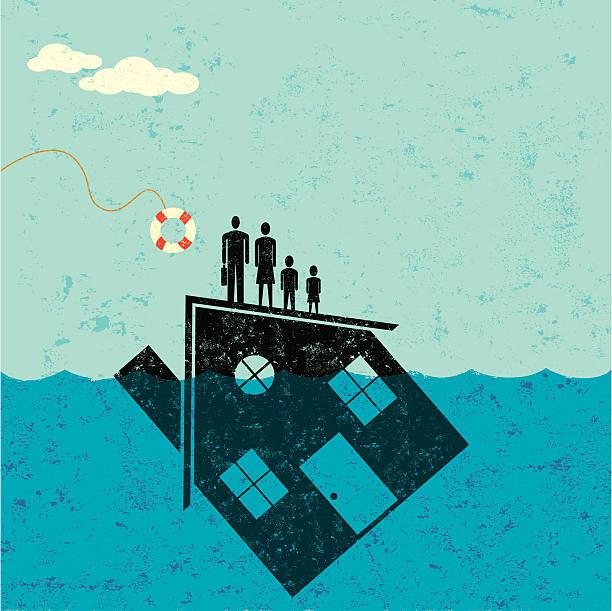 Underwater hogar Mortgage ayuda - ilustración de arte vectorial