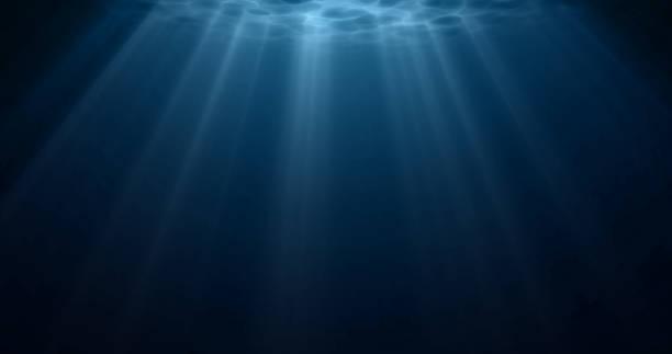stockillustraties, clipart, cartoons en iconen met onderwater licht, zon licht schijnt onder water met rimpelingen op het oppervlak. realistisch zonlicht onder diep water met reflectie, blauwe oceaan of zeediepte blauwe achtergrond - ocean under water
