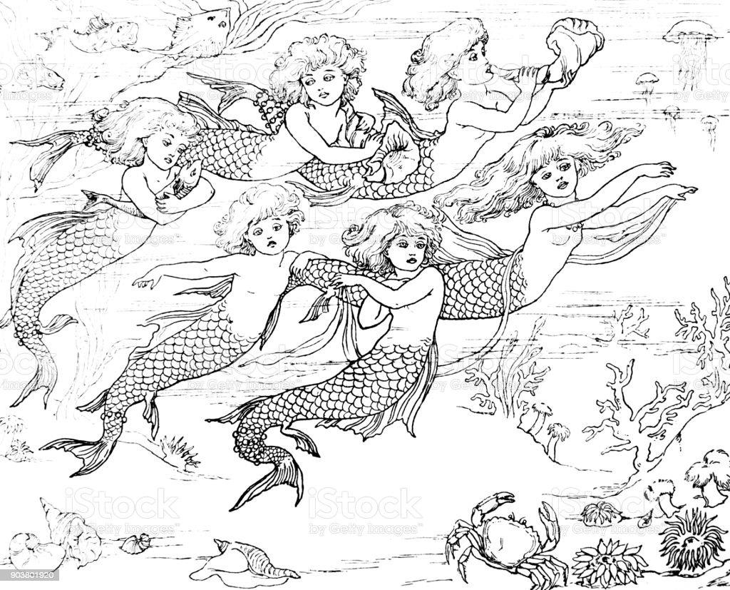 Cena submarina da pequena sereia de Andersen - ilustração de arte em vetor