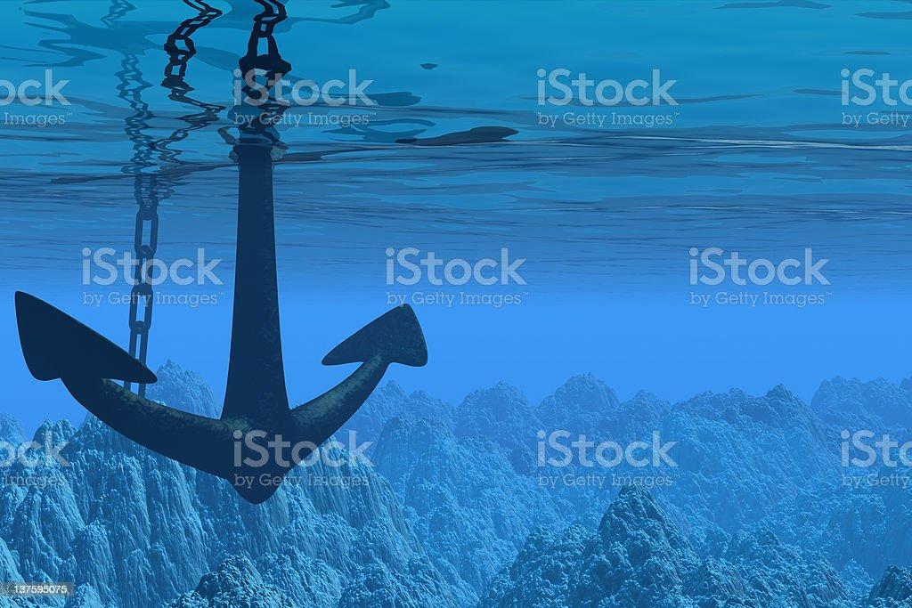 Underwater scene with anchor vector art illustration