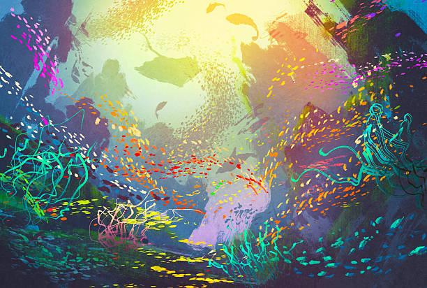 bildbanksillustrationer, clip art samt tecknat material och ikoner med underwater with coral reef and colorful fish - akvatisk organism