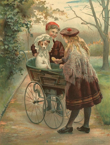 Unhappy dog dressed in a Victorian bonnet and riding in a perambulator