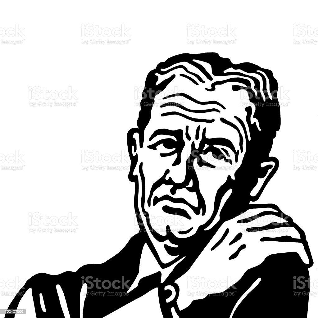 Unhappy Man Holding His Shoulder royalty-free stock vector art