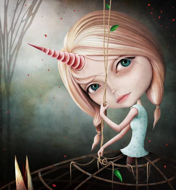 illustrations, cliparts, dessins animés et icônes de fille de licorne - cage animal nuit