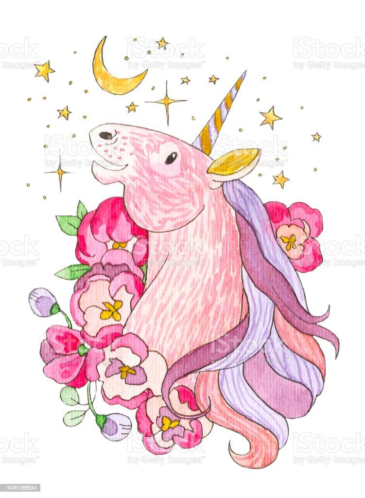 Ilustración de Unicornio Mira La Luna Y Las Estrellas Animal Mágico ...