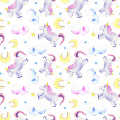 Unicorns, moon, clouds pattern