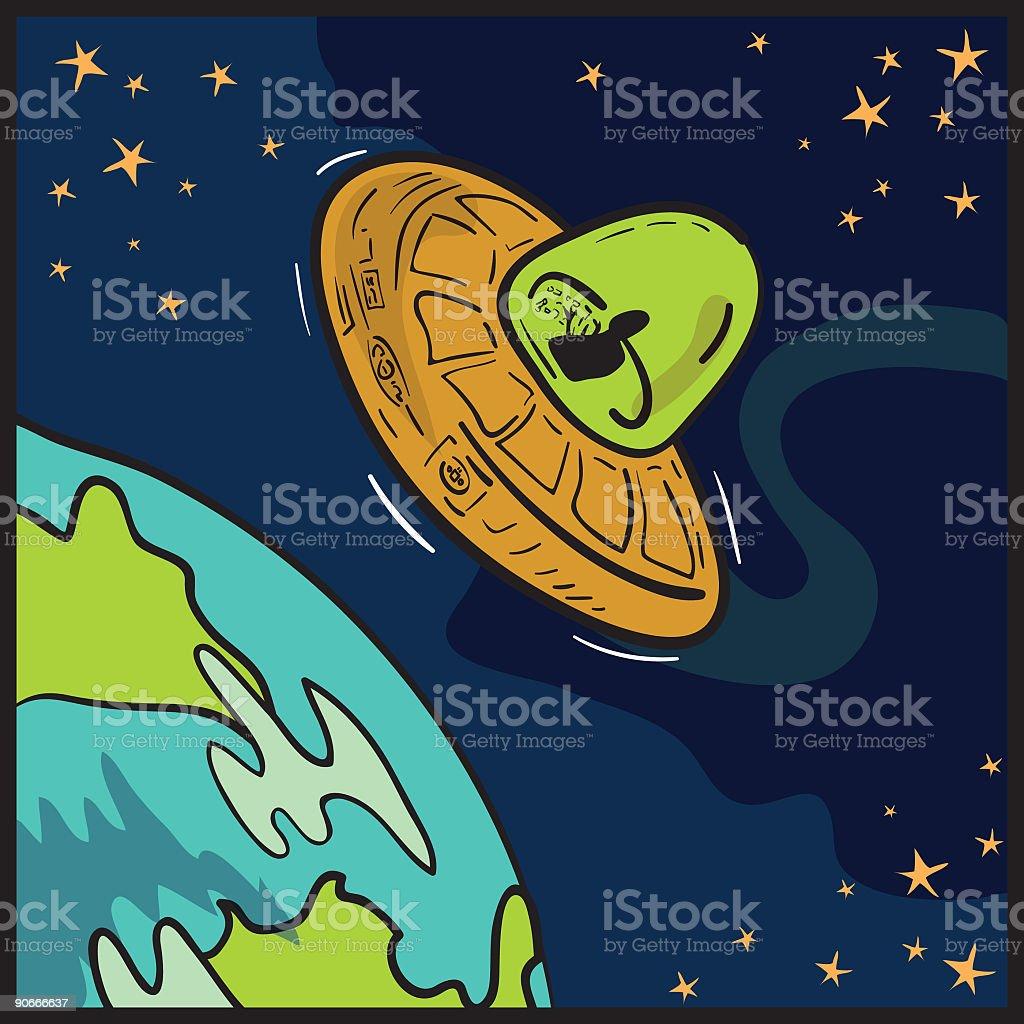 Unidentified Flying Saucer vector art illustration