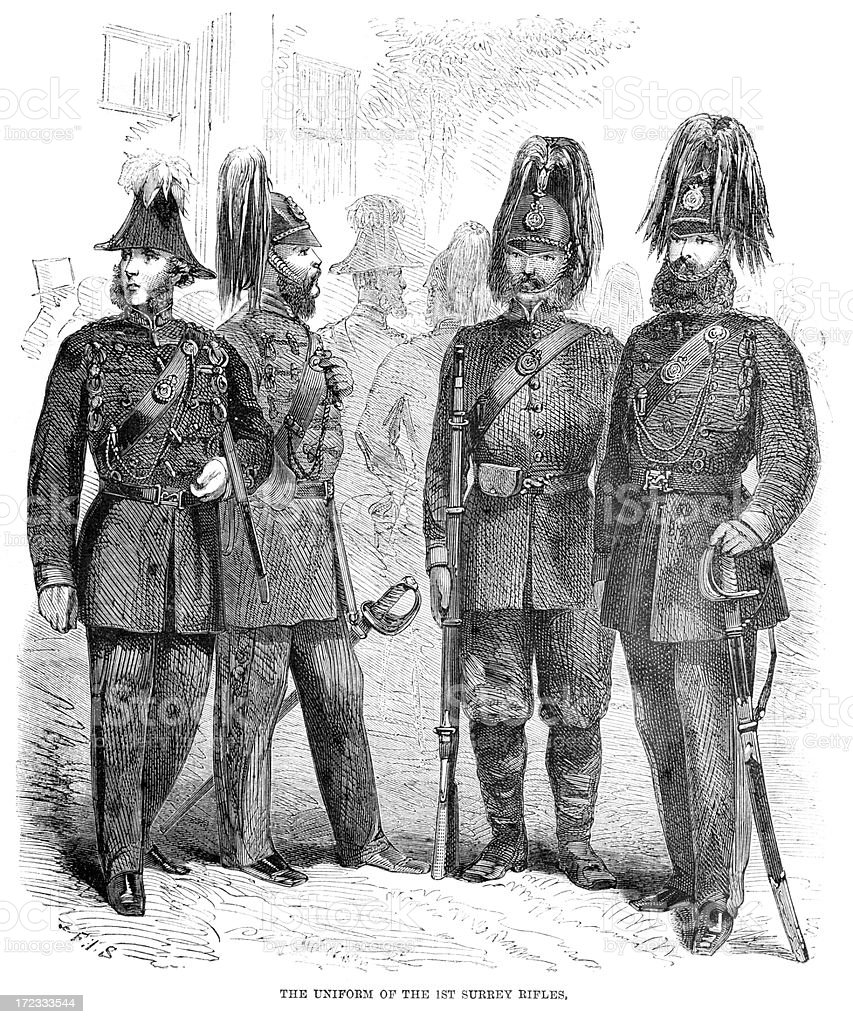 Uniform of the 1st Surrey Rifles royalty-free stock vector art