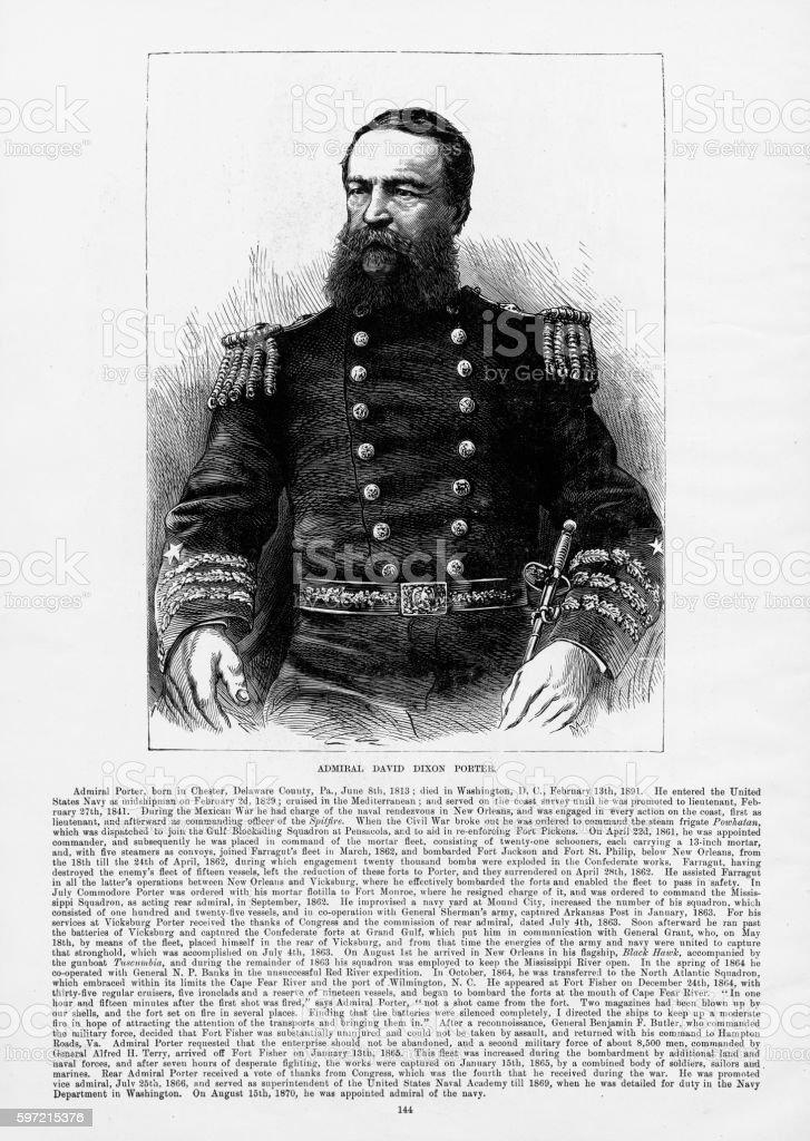 Union Admiral David Dixon Porter Civil War Engraving, Circa 1865 vector art illustration