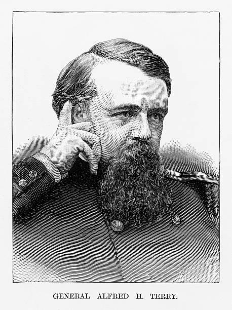ilustrações, clipart, desenhos animados e ícones de union general alfred h. terry civil war engraving, circa 1865 - brigadeiro