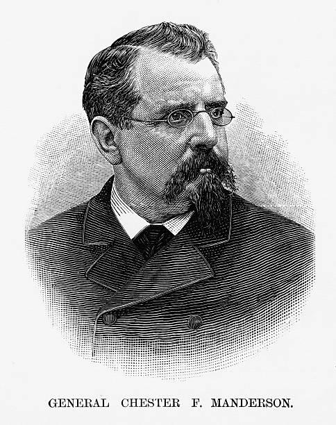 ilustrações, clipart, desenhos animados e ícones de union general chester f. manderson civil war engraving, circa 1865 - brigadeiro