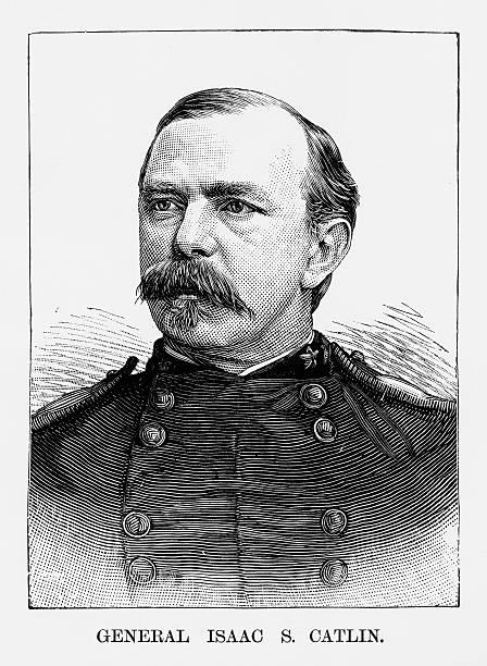 ilustrações, clipart, desenhos animados e ícones de union general isaac s. catlin civil war engraving, circa 1865 - brigadeiro