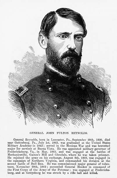 ilustrações, clipart, desenhos animados e ícones de union general john fulton reynolds civil war engraving, circa 1865 - brigadeiro