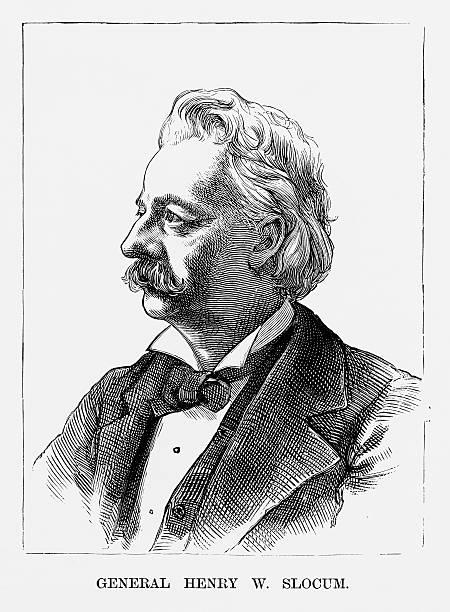 ilustrações, clipart, desenhos animados e ícones de union henry w. slocum civil war engraving, circa 1865 - brigadeiro