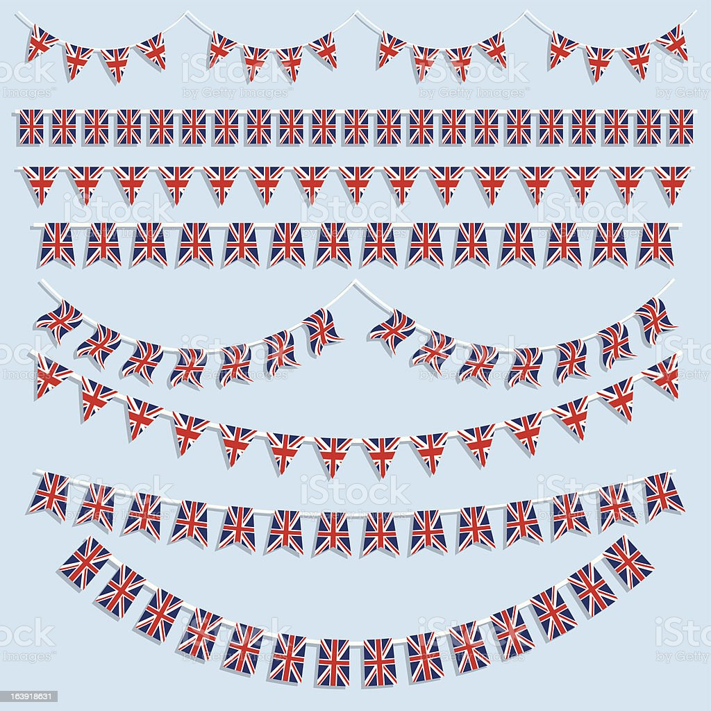 Union Jack flags and bunting vector art illustration