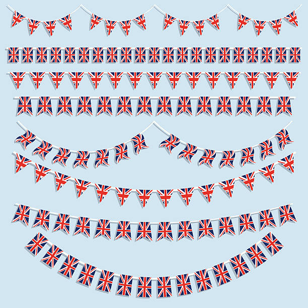 union jack flags and bunting - uk flag stock illustrations, clip art, cartoons, & icons