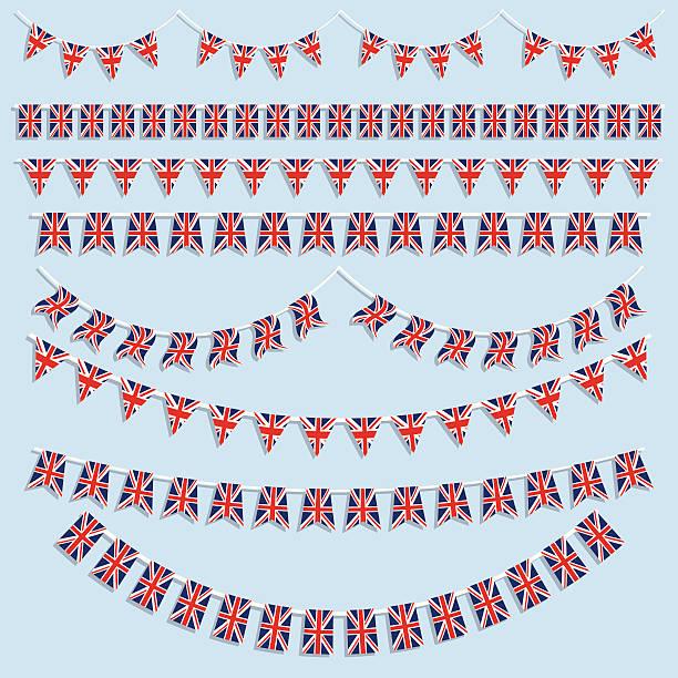 illustrations, cliparts, dessins animés et icônes de union jack et drapeaux bunting - drapeau du royaume uni