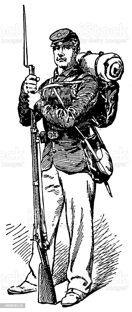 Union Soldier vector art illustration