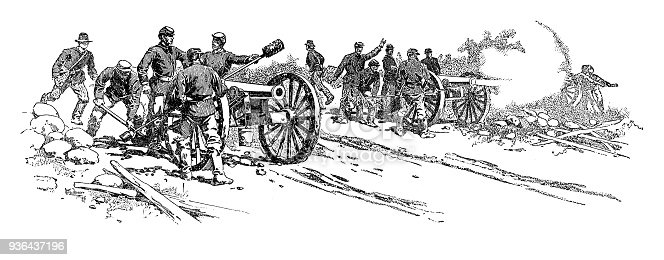 Union soldiers firing cannons - Scanned 1887 Engraving
