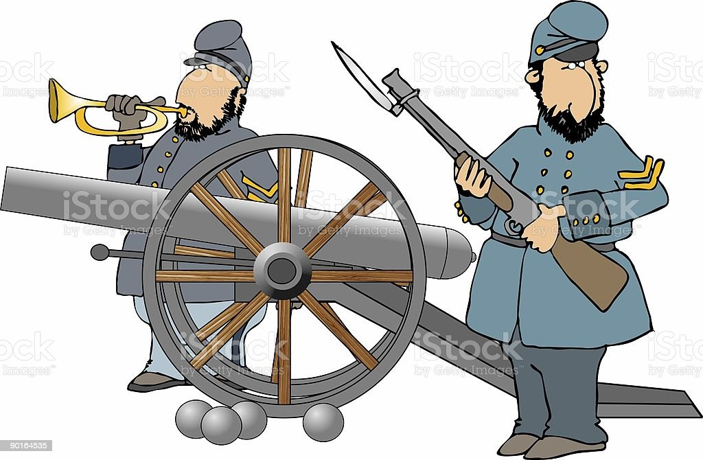 Union Soldiers with a cannon royalty-free stock vector art