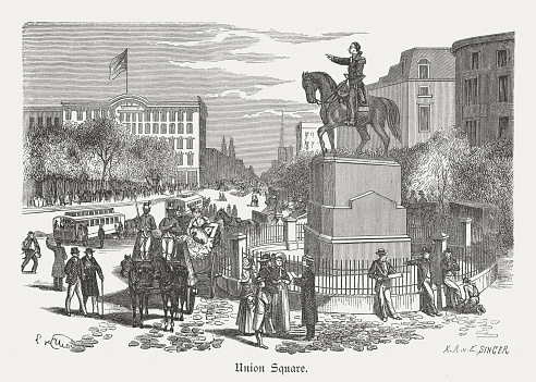 Union Square, New York City, wood engraving, published in 1880