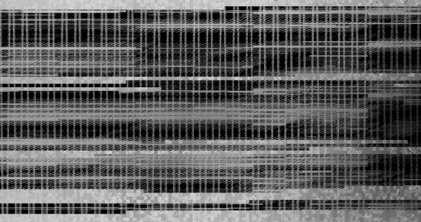 Unique Design Abstract Digital Pixel Noise Glitch Error Video Damage Glitch television on black background. Glitched lines noise. No signal. Retro VHS background. infamous stock illustrations