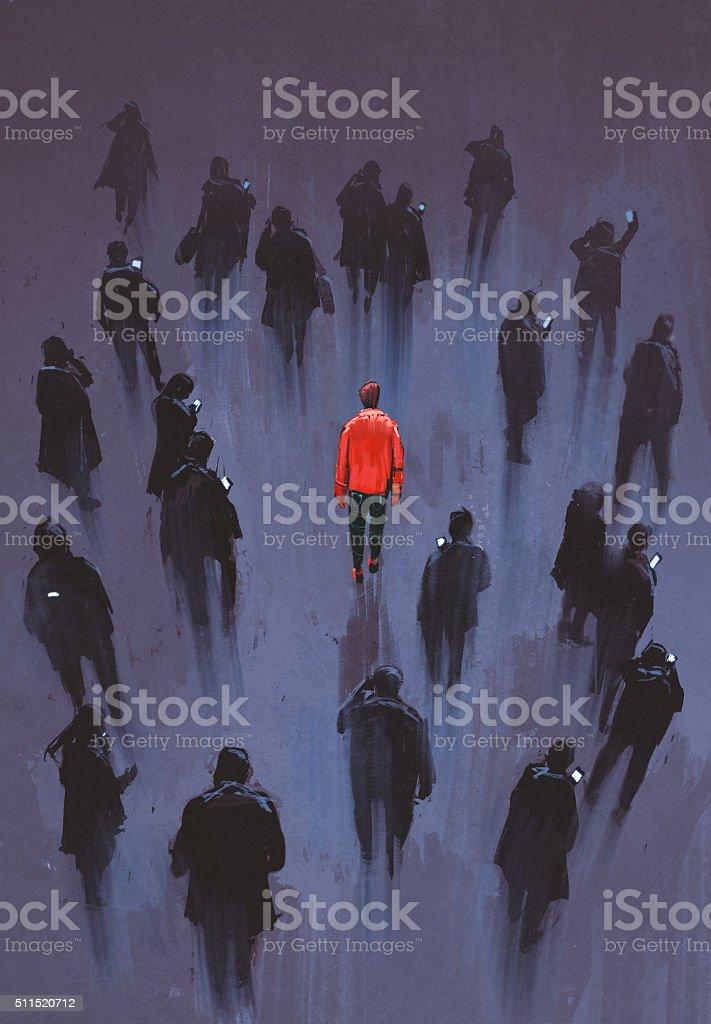 unique person in the crowd vector art illustration