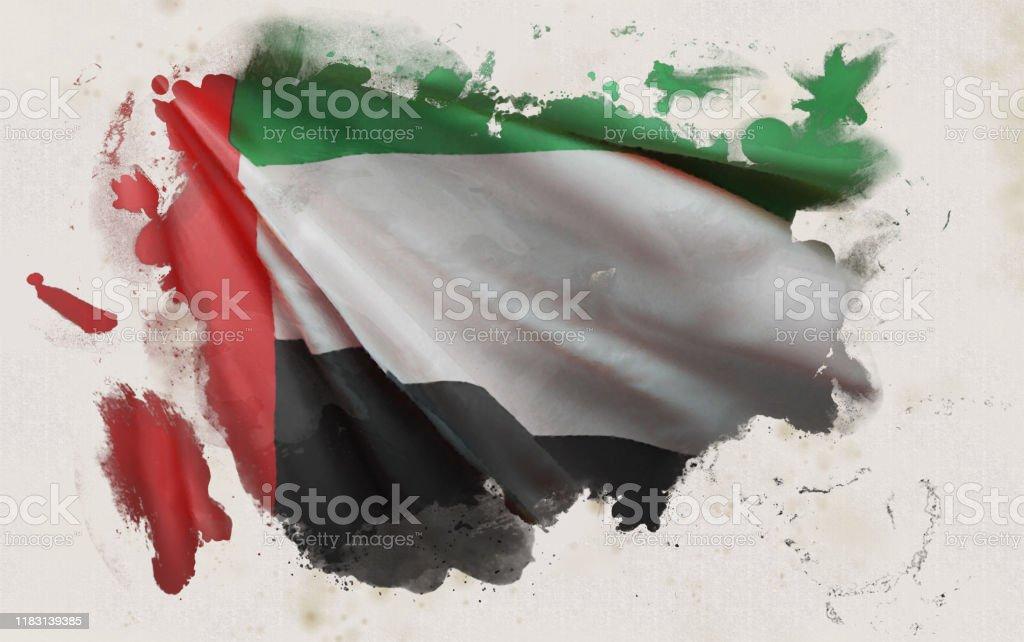 阿拉伯聯合大公國國旗,阿聯酋民族色彩背景[3D渲染] - 免版稅國旗插圖檔