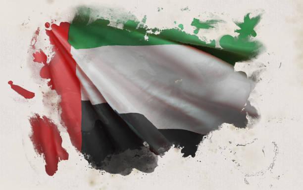 阿拉伯聯合大公國國旗,阿聯酋民族色彩背景[3d渲染] - uae flag 幅插畫檔、美工圖案、卡通及圖標
