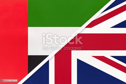 istock United Arab Emirates or UAE and United Kingdom or UK, symbol of national flags. Championship between countries. 1253985666