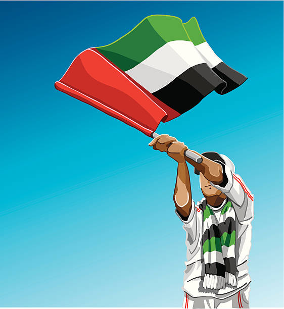 """United Arab Emirates Waving Flag Soccer Fan """"Vector Illustration of a United Arab Emirates soccer fan. The background is on a separate layer, so you can use the illustration on your own background. The colors in the .eps and .ai-files are ready for print (CMYK). Included files: EPS (v8), AI (CS2) and Hi-Res JPG."""" soccer stock illustrations"""